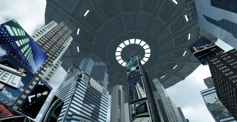 Alien UFO above Time Square New York Manhattan. 3D rendering. (Photo: AdobeStock)